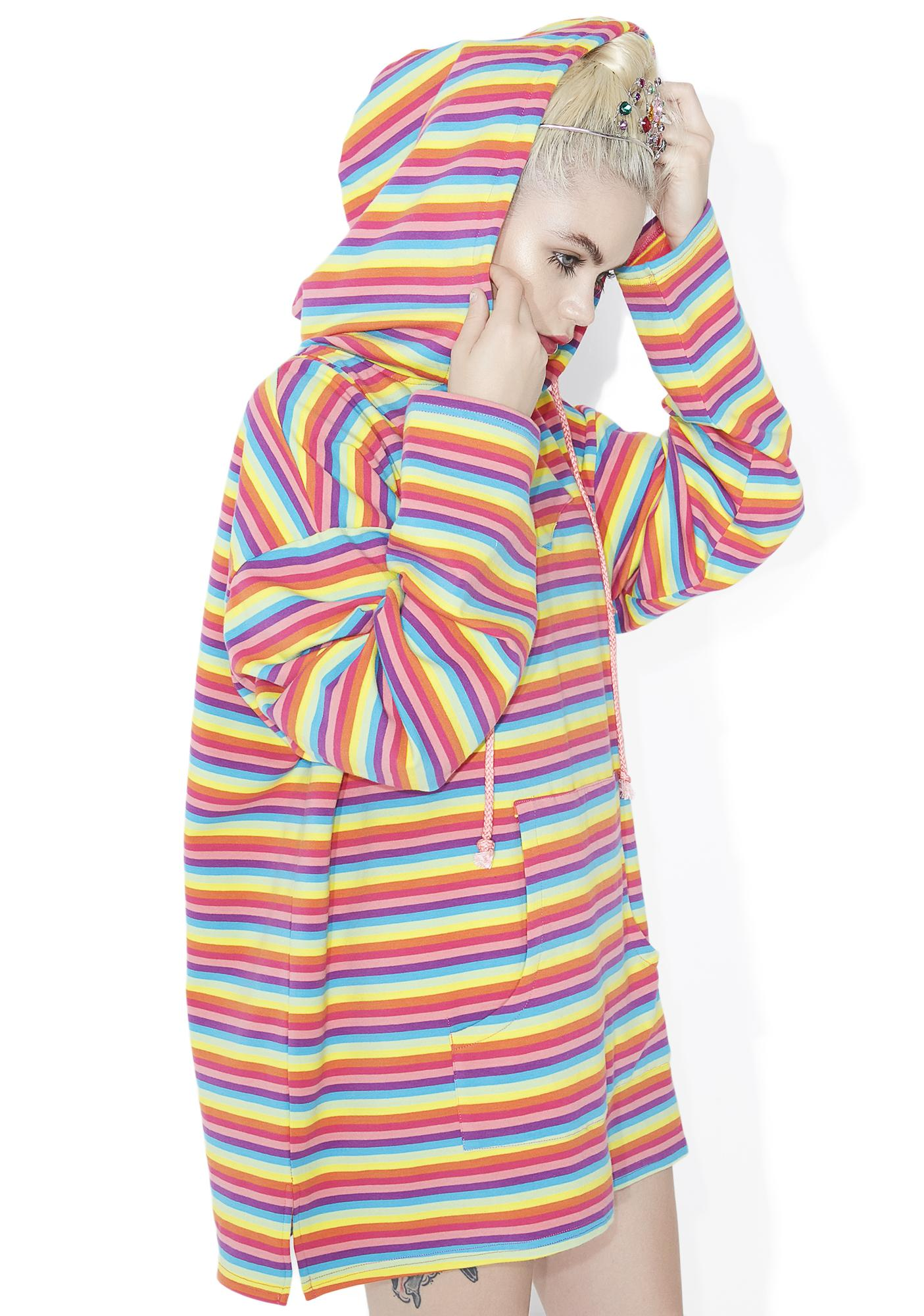 Sugar Thrillz Rainbow Crash Striped Hoodie