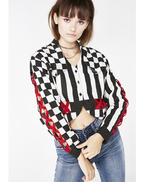 Vintage 80s Stripe and Checkered Jacket
