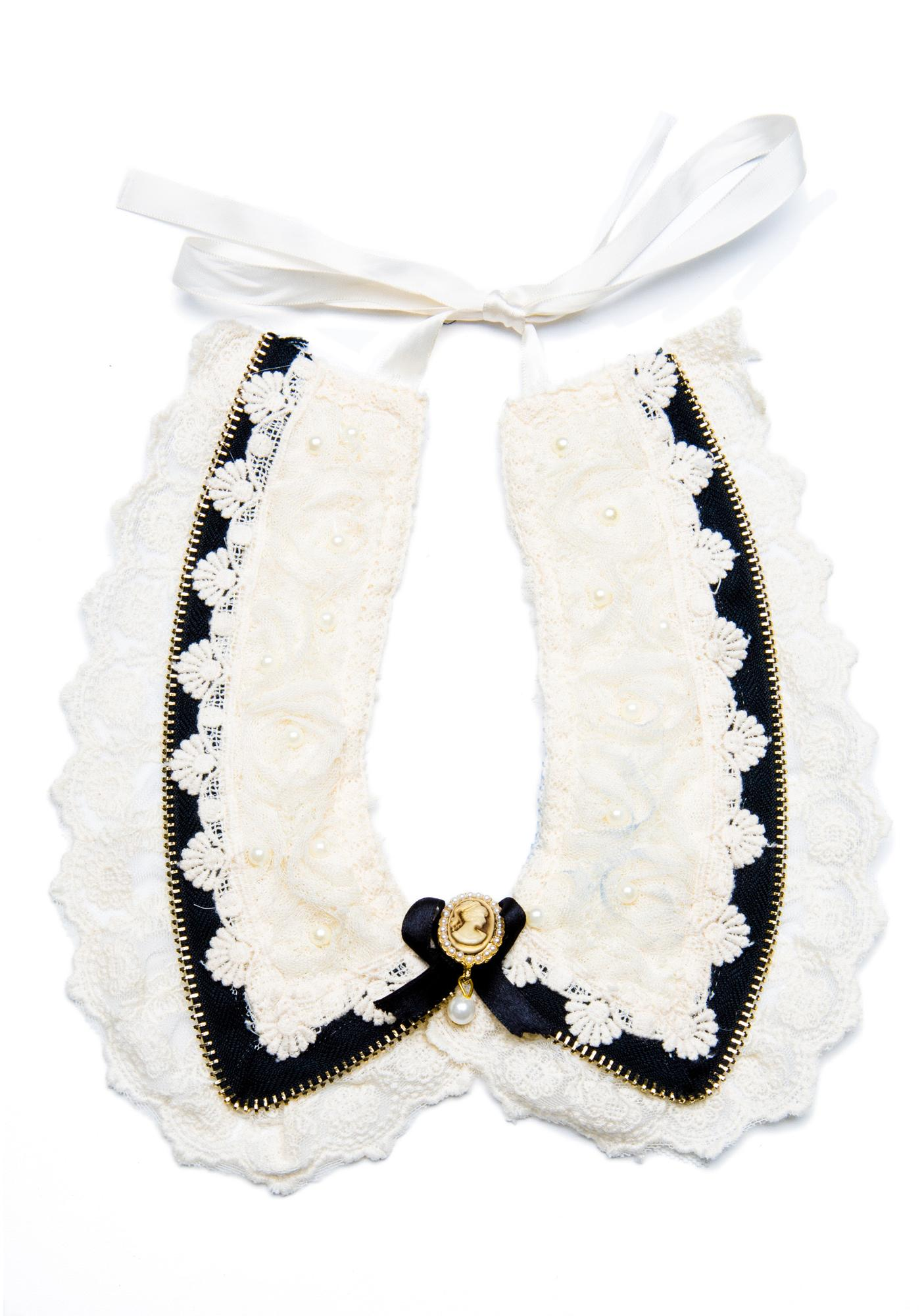 Amandine Lace Zipper Collar Necklace
