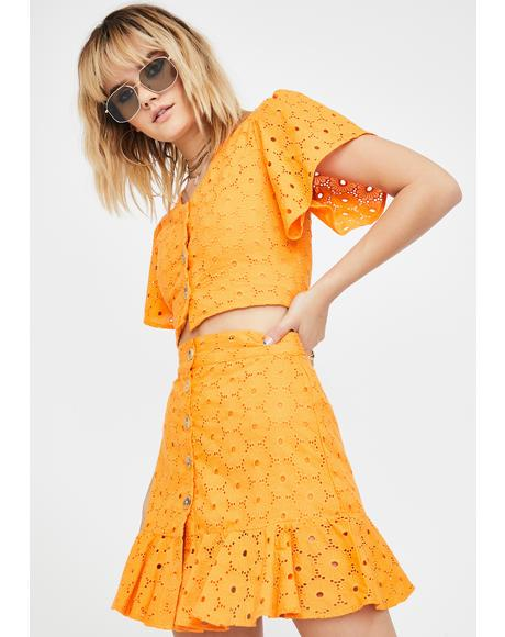 Orange Lace Ruffle Skirt