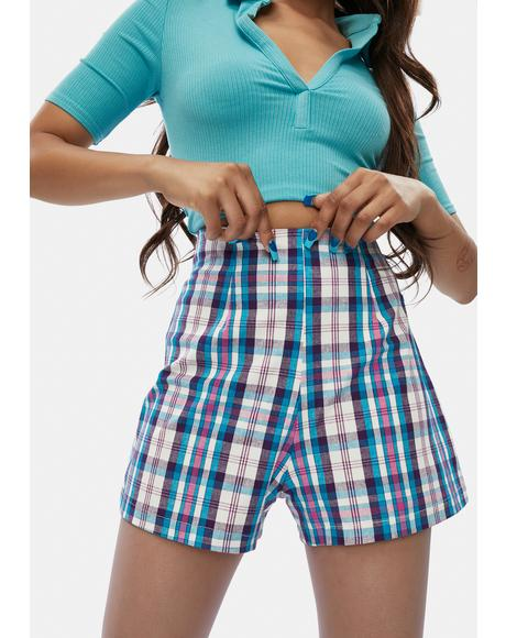 Aqua Plaid Pain Proof Mini Shorts