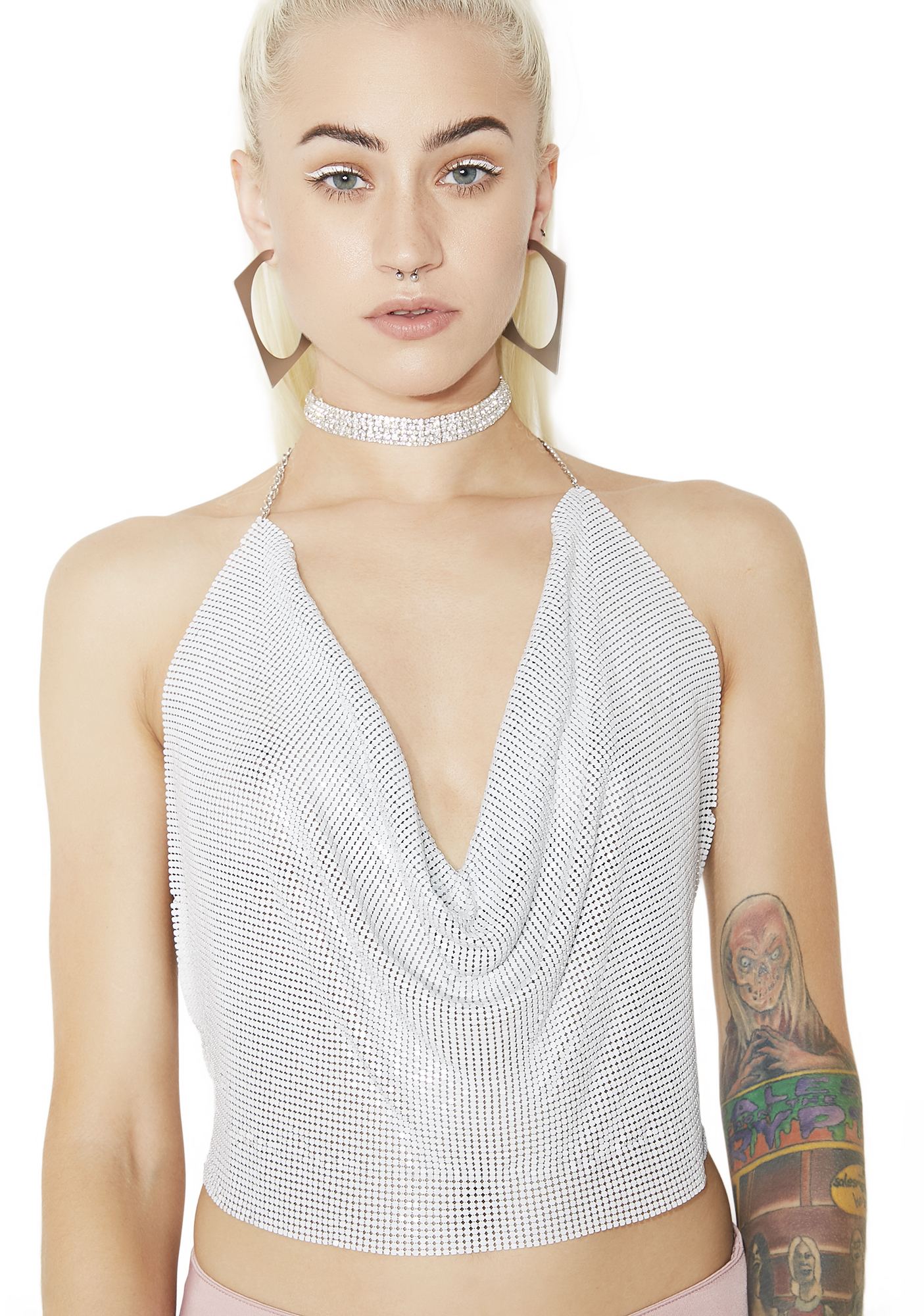 Chainmail Halter White Top