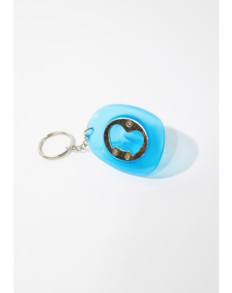Blue Glow In The Dark Cowboy Hat Bottle Opener Keychain
