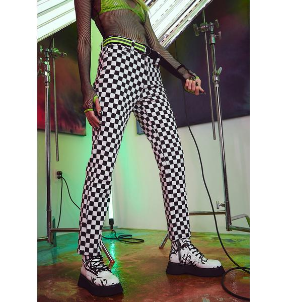 Current Mood Chasing Thrills Checkered Jeans