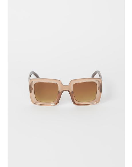 Taupe Having A Moment Oversized Sunglasses