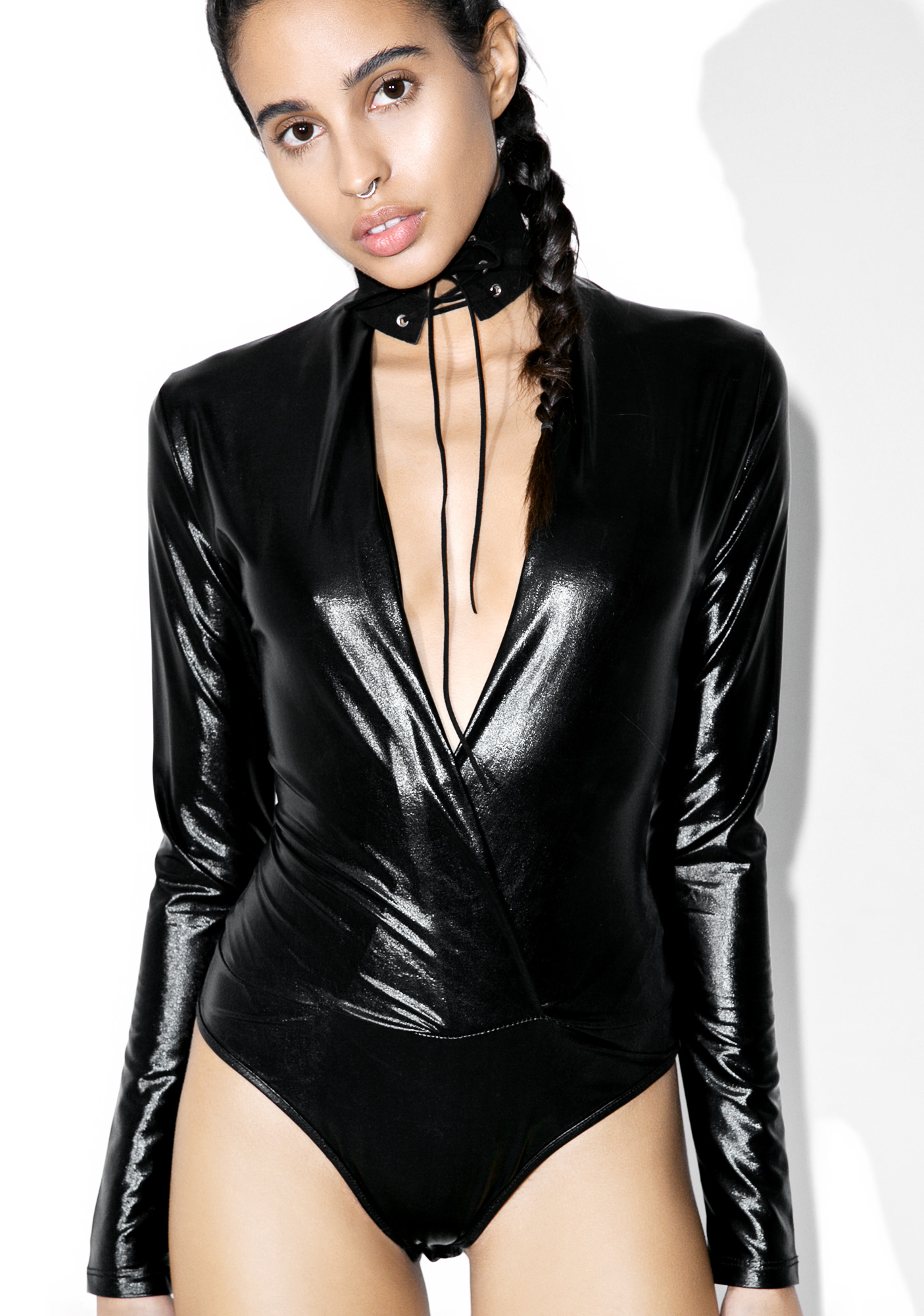 Black Metallic Bodysuit