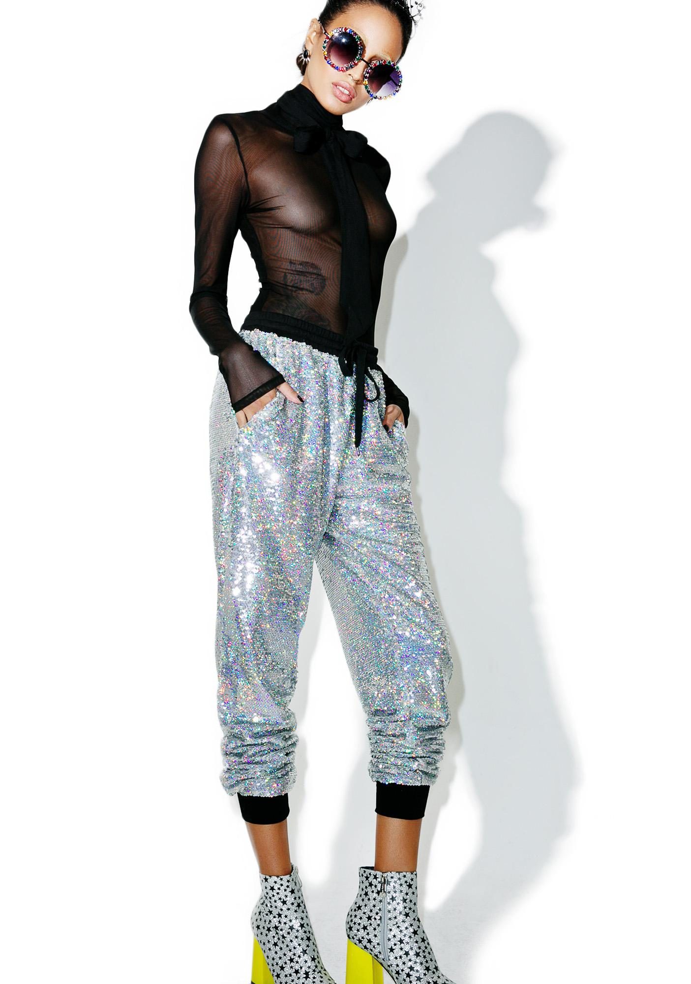 Glamorous Celebrity Skin Sequin Joggers