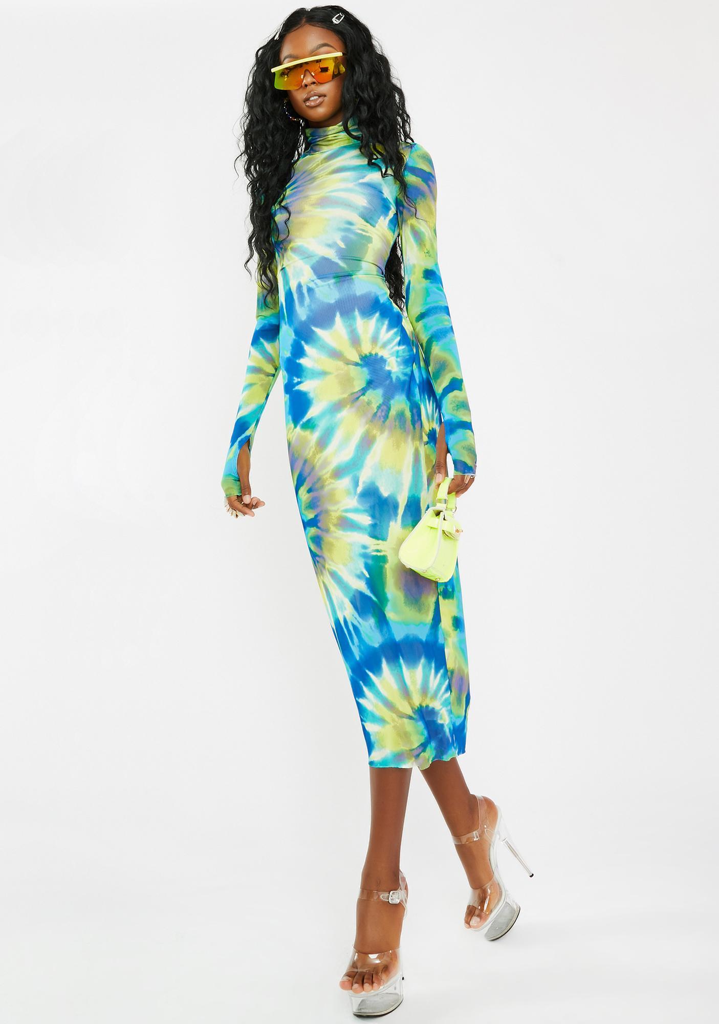 AFRM Shailene Yellow Spiral Tie Dye Dress