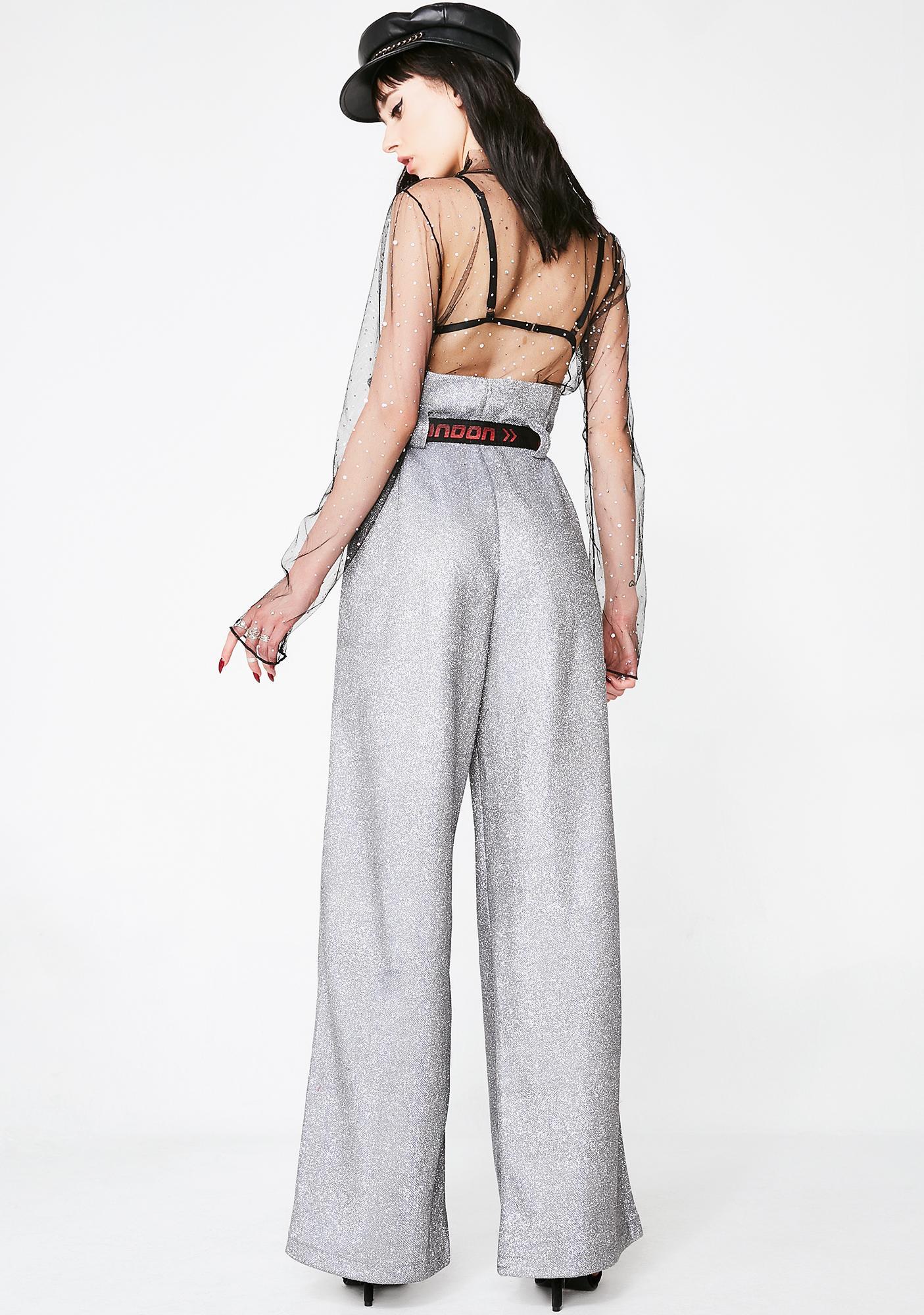 Jaded London Paperbag Waist Diamante Trousers