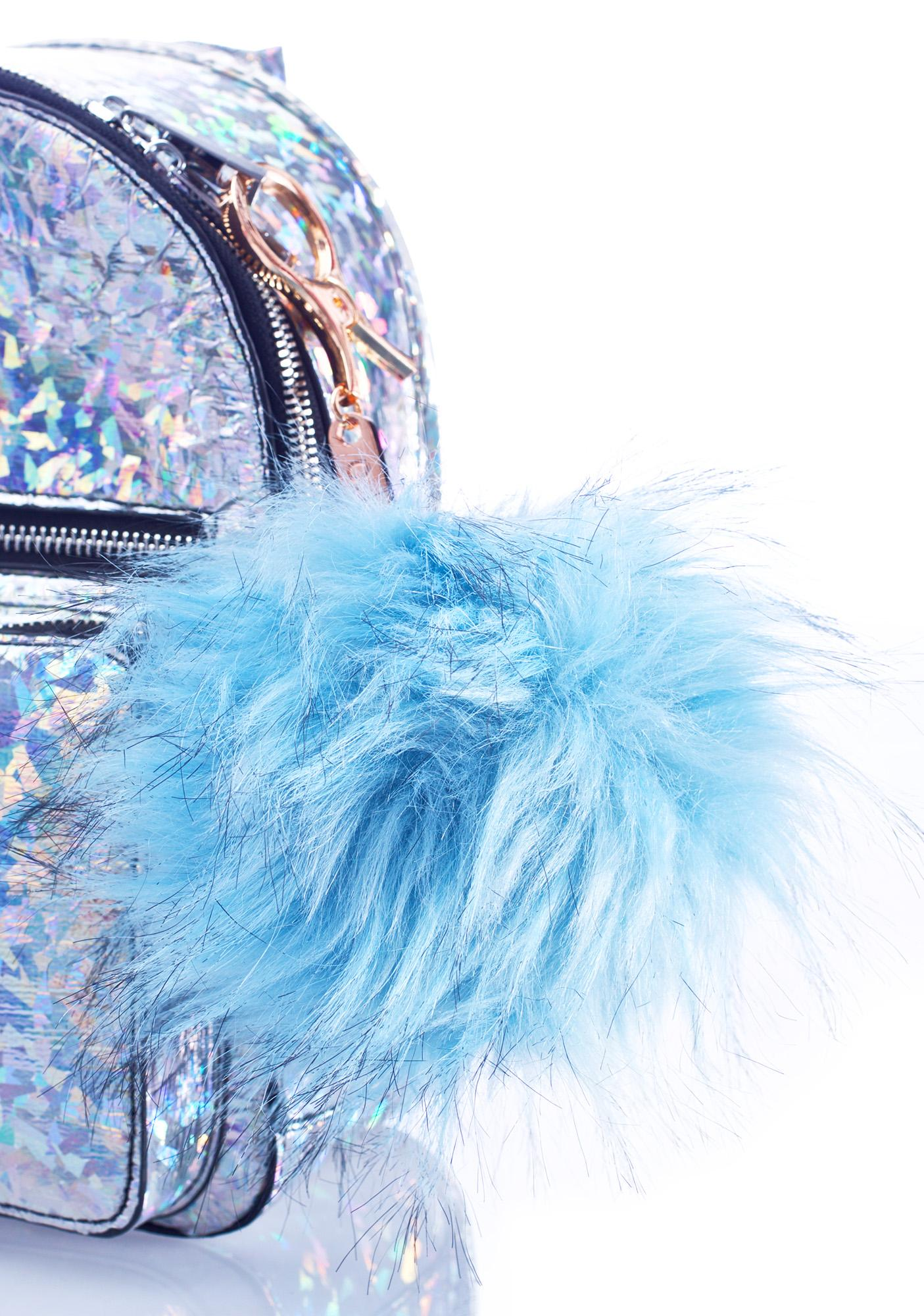 BB Gurl Blue Furry Pom Keychain