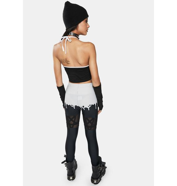 Too Fast Melty Spooky Pentagram Mesh Leggings