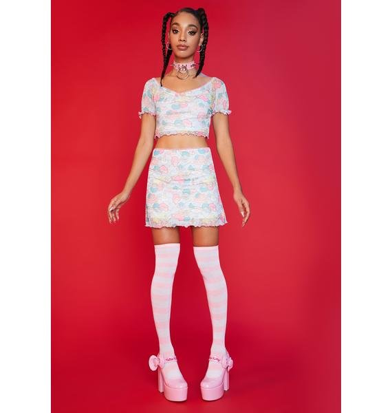 Dolls Kill x Hello Kitty Lost In The Clouds Mesh Top