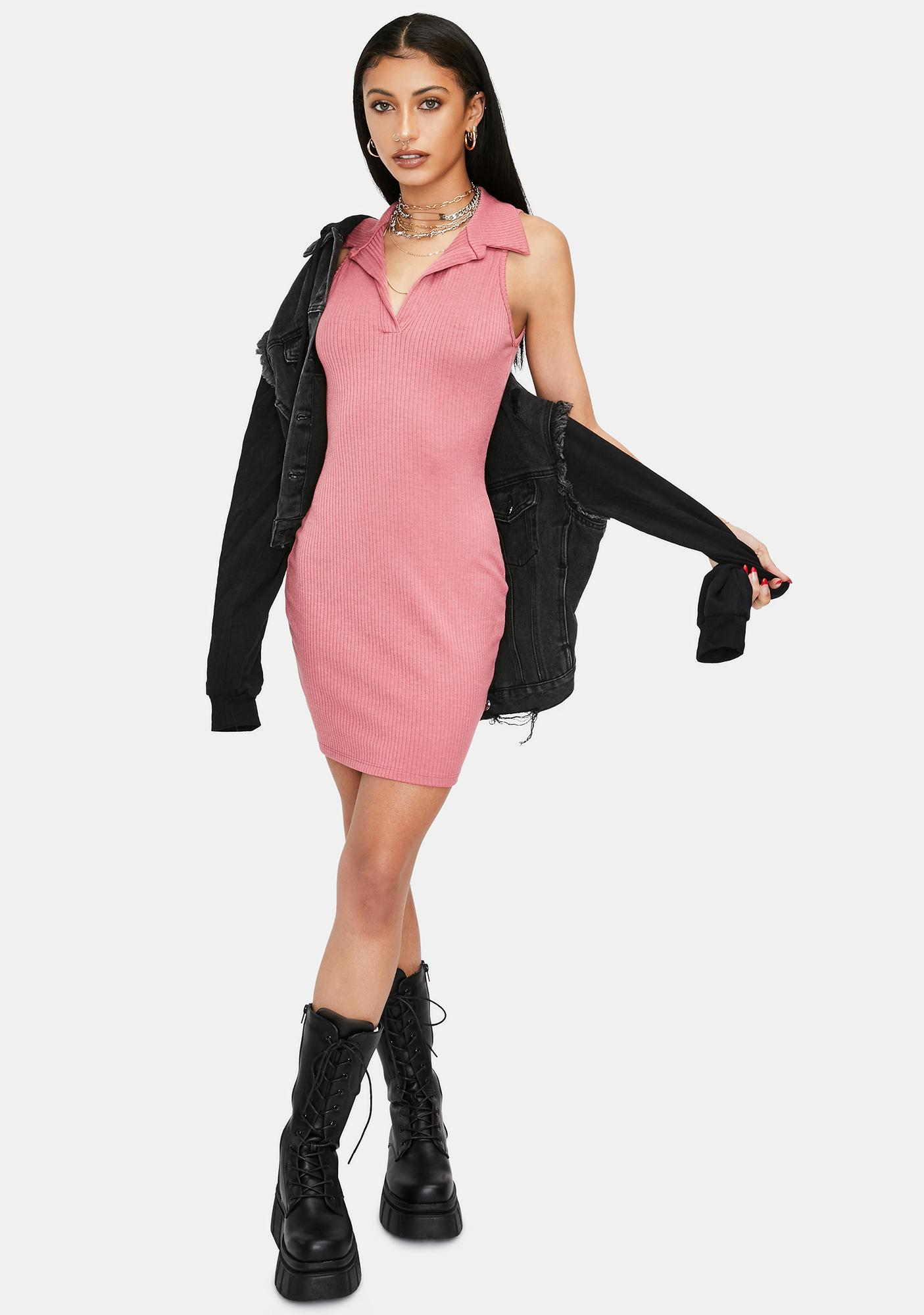Mauve On The Town Knit Tank Dress