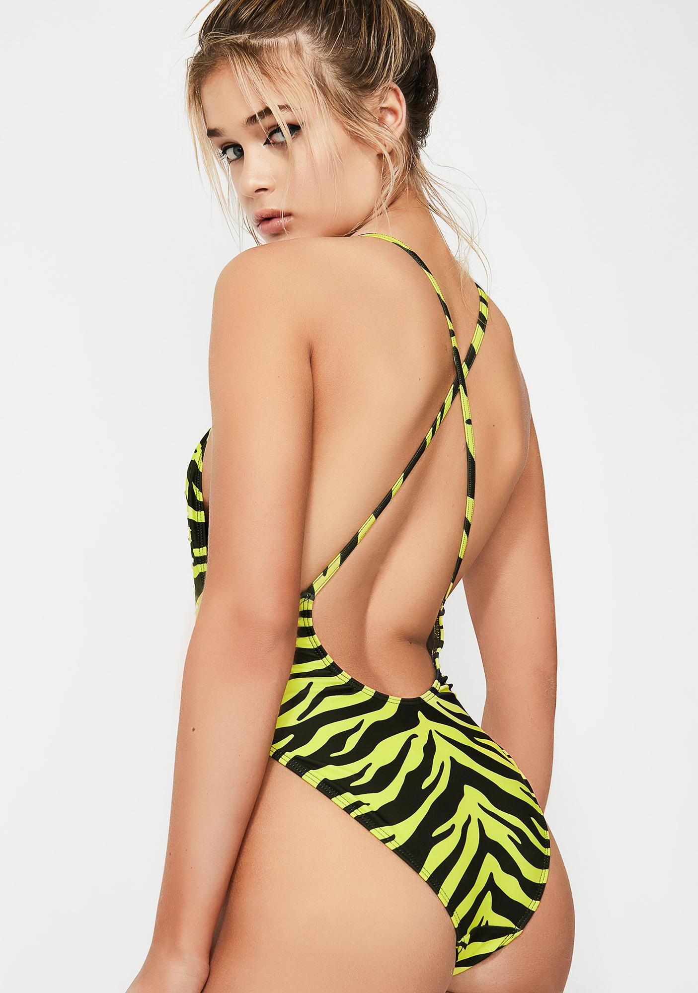 Jaded London Zebra Diamante Cami Swimsuit