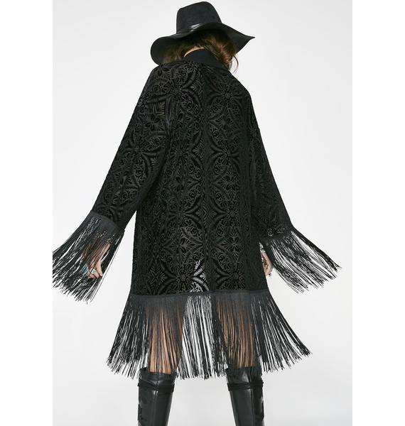 TEMPLE RO Black Velvet Kimono