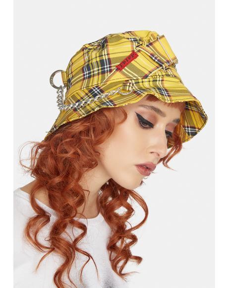 Yellow Plaid Bondage Bucket Hat