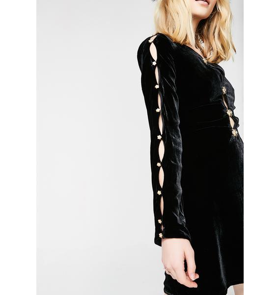 For Love & Lemons Beatrix Velvet Button Sleeve Dress