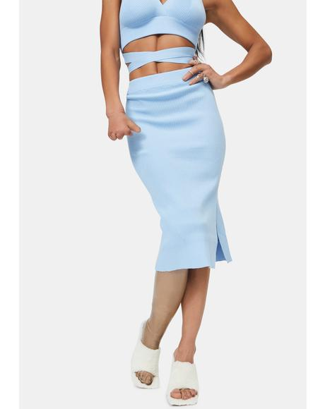 Blue Rebekah Knit Midi Skirt
