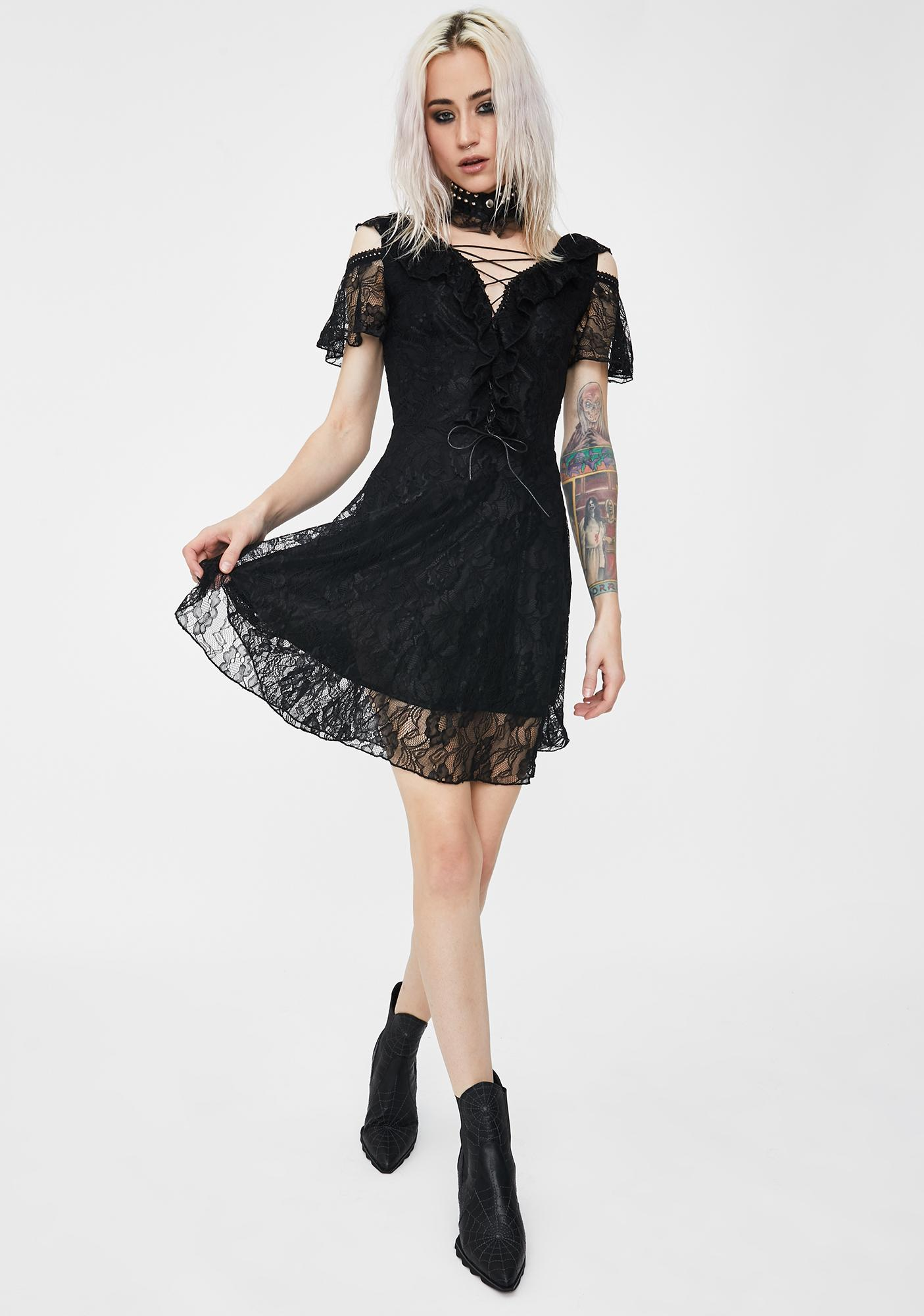 Dark In Love Lace Off The Shoulder Dress