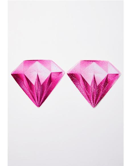 Pink Diamond Sparkling Velvet Pasties