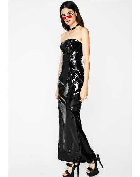 Glossy Look Maxi Dress