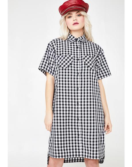 Gingham Heart Shirt Dress