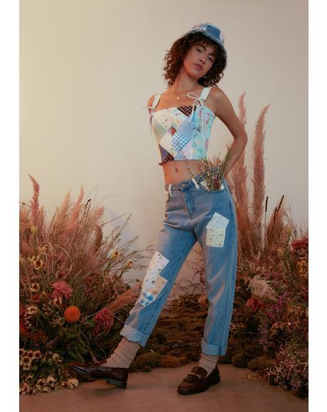 Dose Of Happy Patchwork Denim Jeans