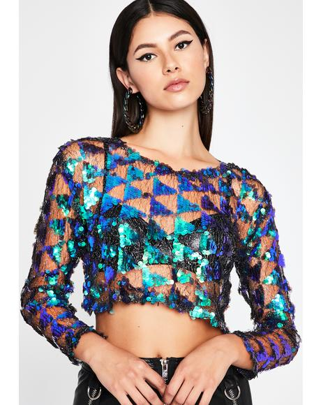 Dark Kiss Of Bliss Sequin Top