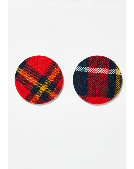 Moody Behavior Plaid Earrings