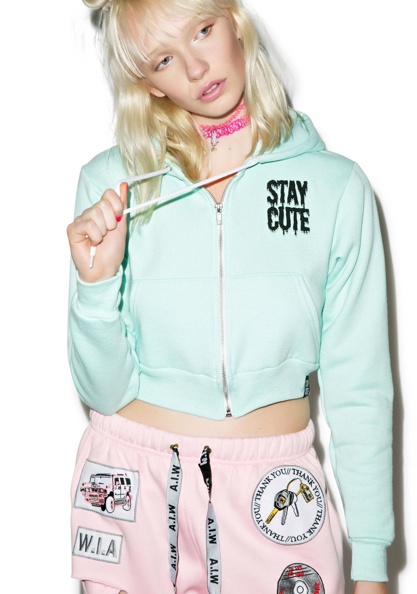 Stay Cute Stay Cute Cropped Hoodie