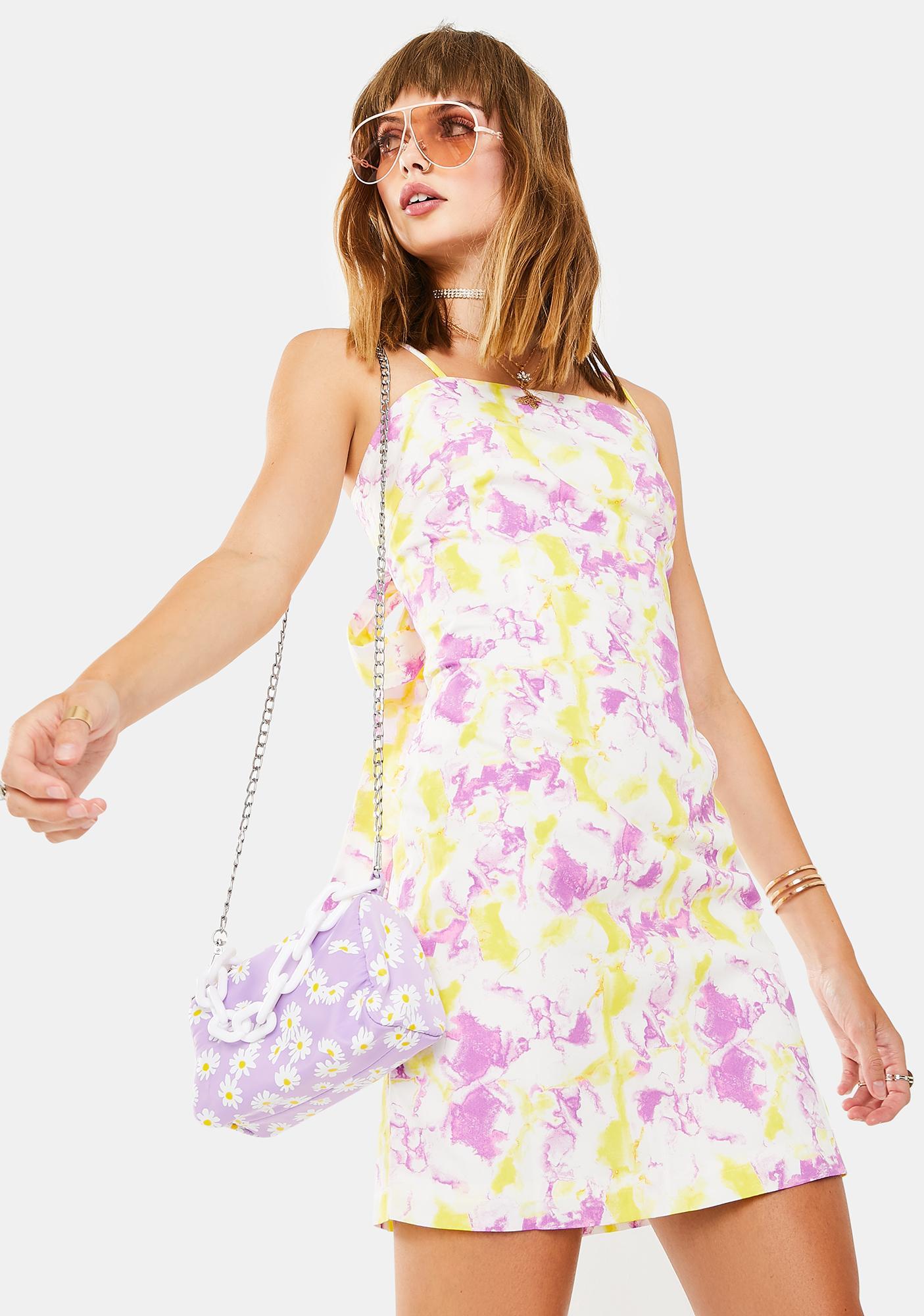 Glamorous Pink Yellow Art Print Dress