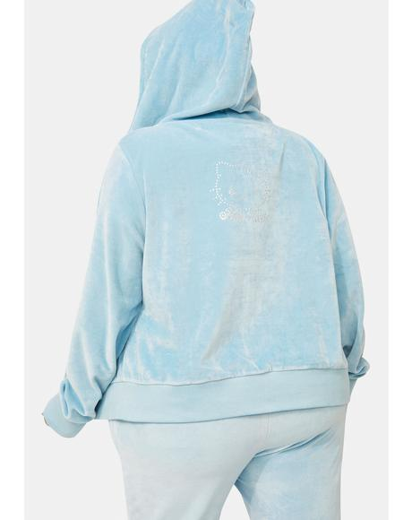 Curve Hello Kitty Velour Zip Up Hoodie