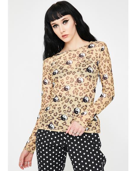 Leopard Yin Yang Mesh Top