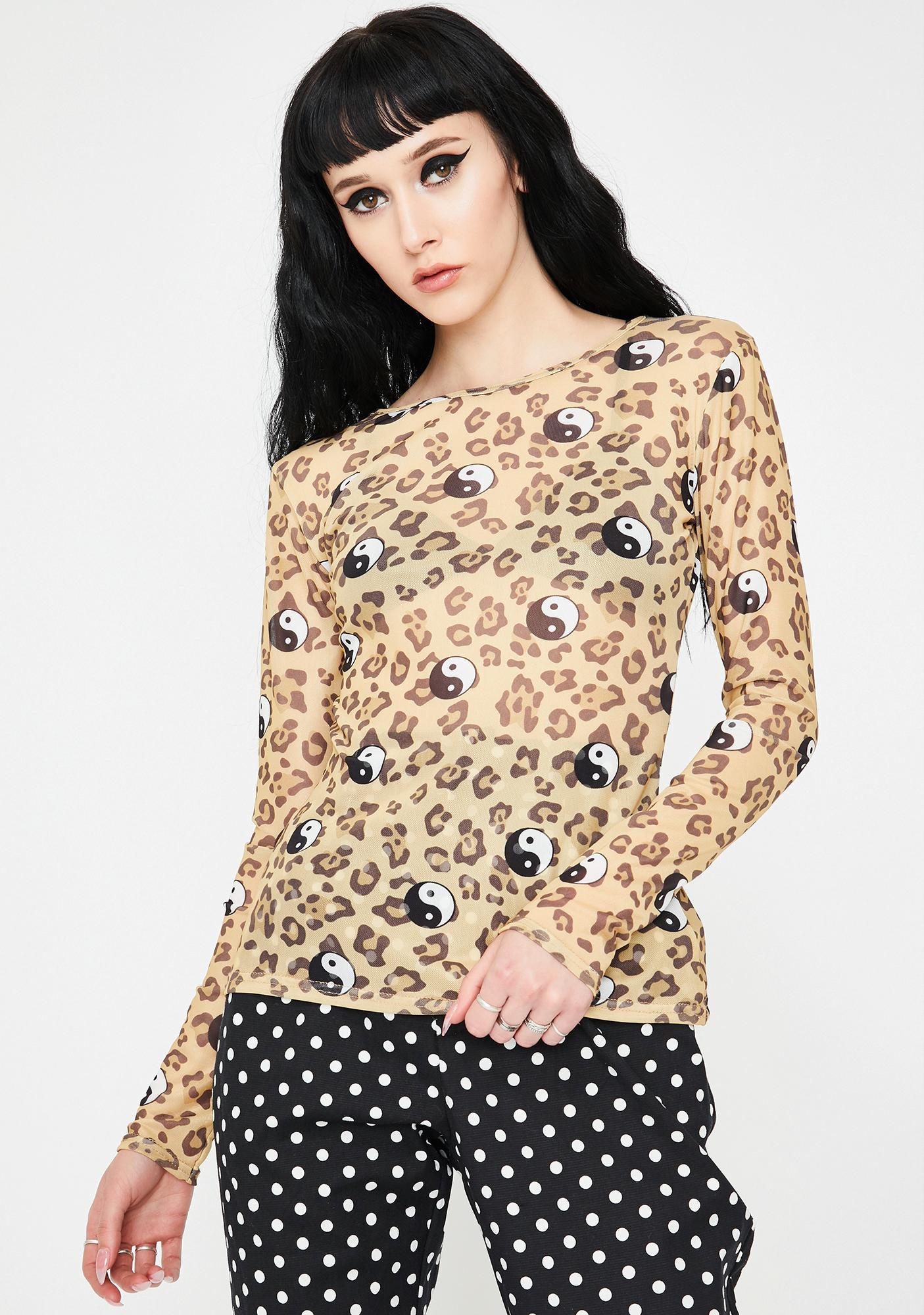 Daisy Street Leopard Yin Yang Mesh Top