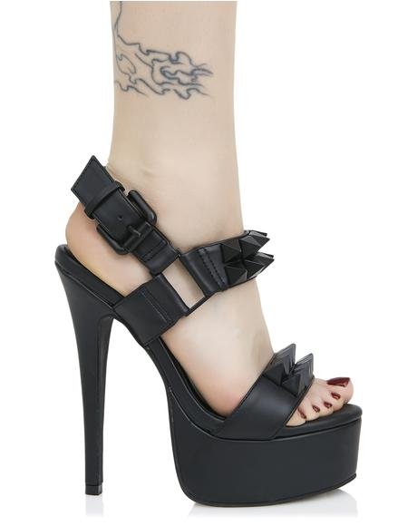 Midnight Queen Pin Studded Heels
