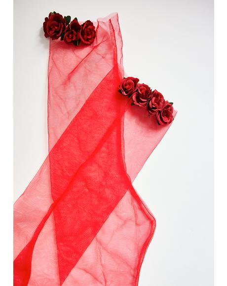Scarlet Roses Tulle Socks