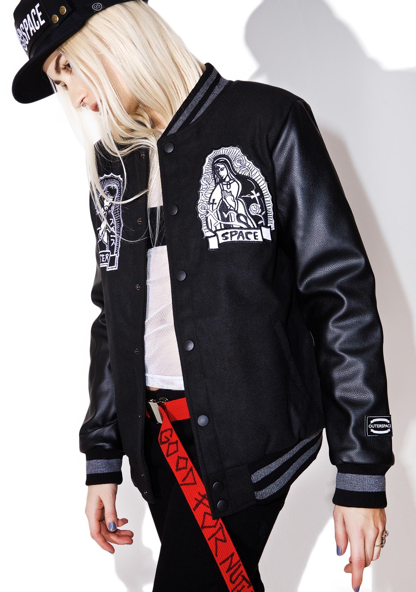 Outerspace Jesus Kanji Varsity Jacket
