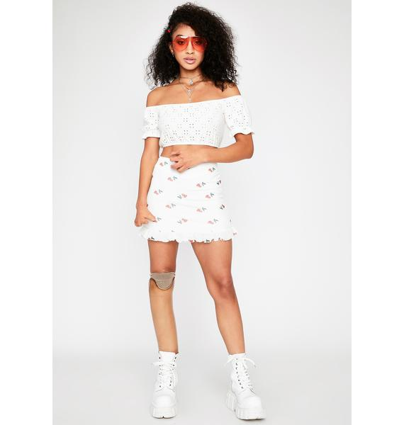 Purely Dropping Hints Eyelet Top