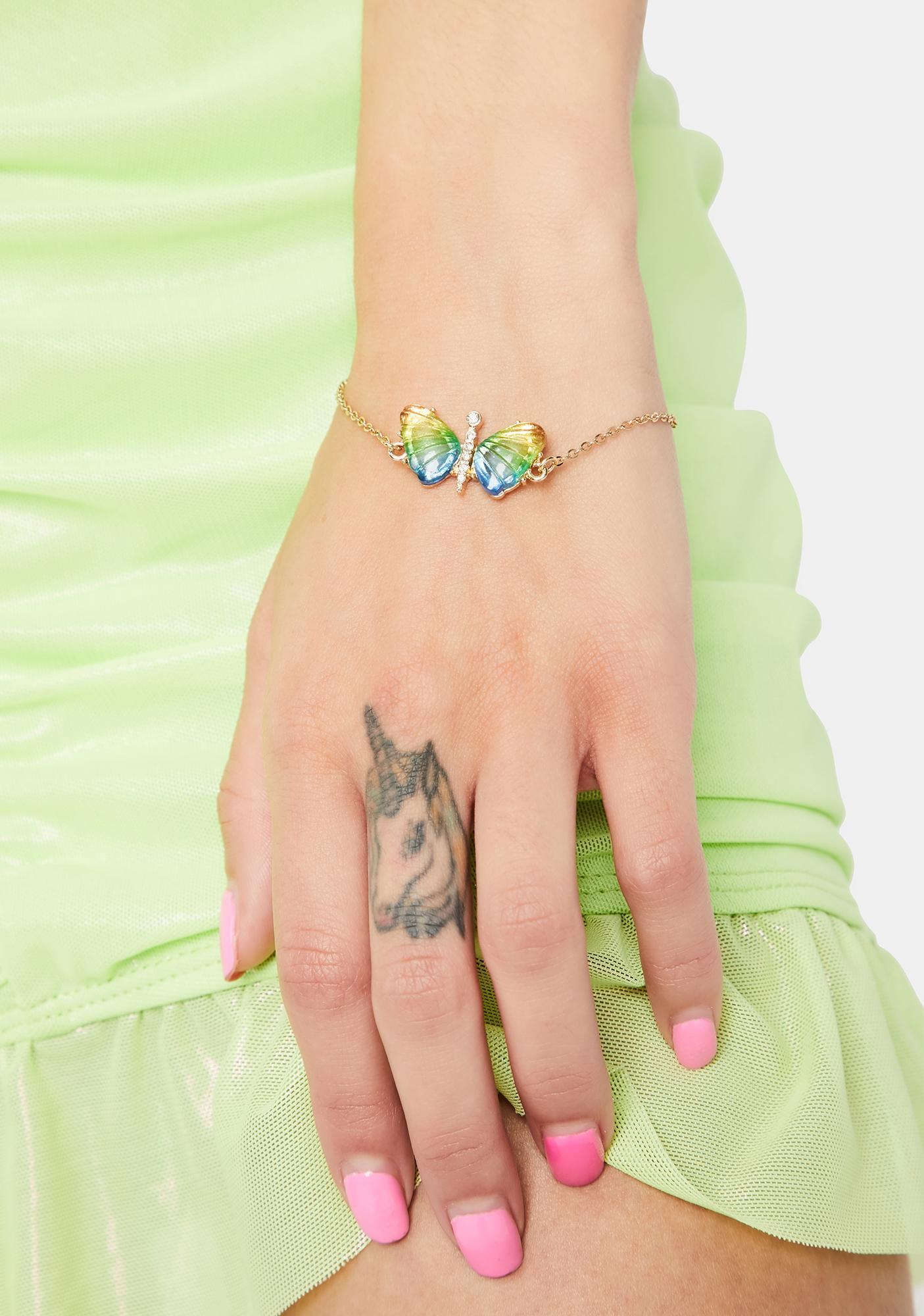 Prismatic Butterfly Charm Bracelet