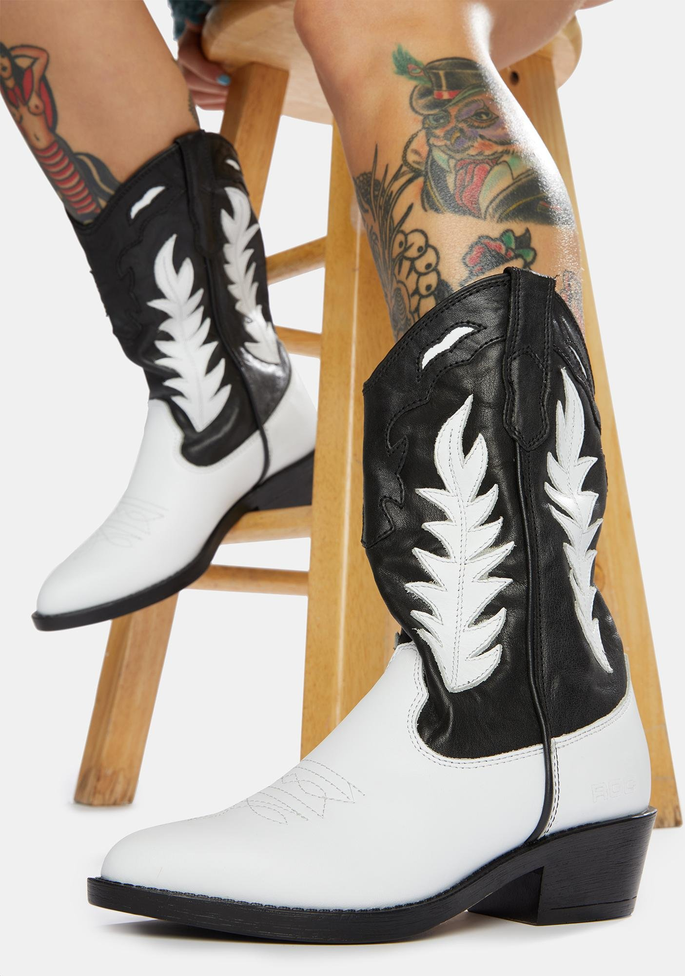 ROC Boots Australia  India Two-Tone Leather Cowboy Boots