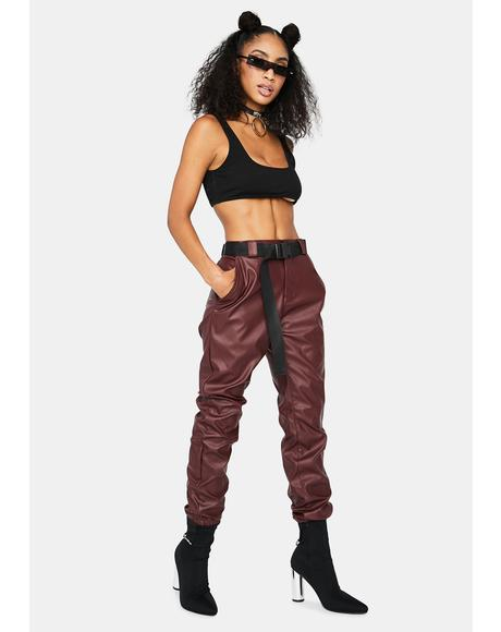 Burgundy Take The Lead Vegan Leather Joggers