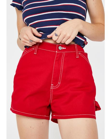 Red High Rise Carpenter Shorts