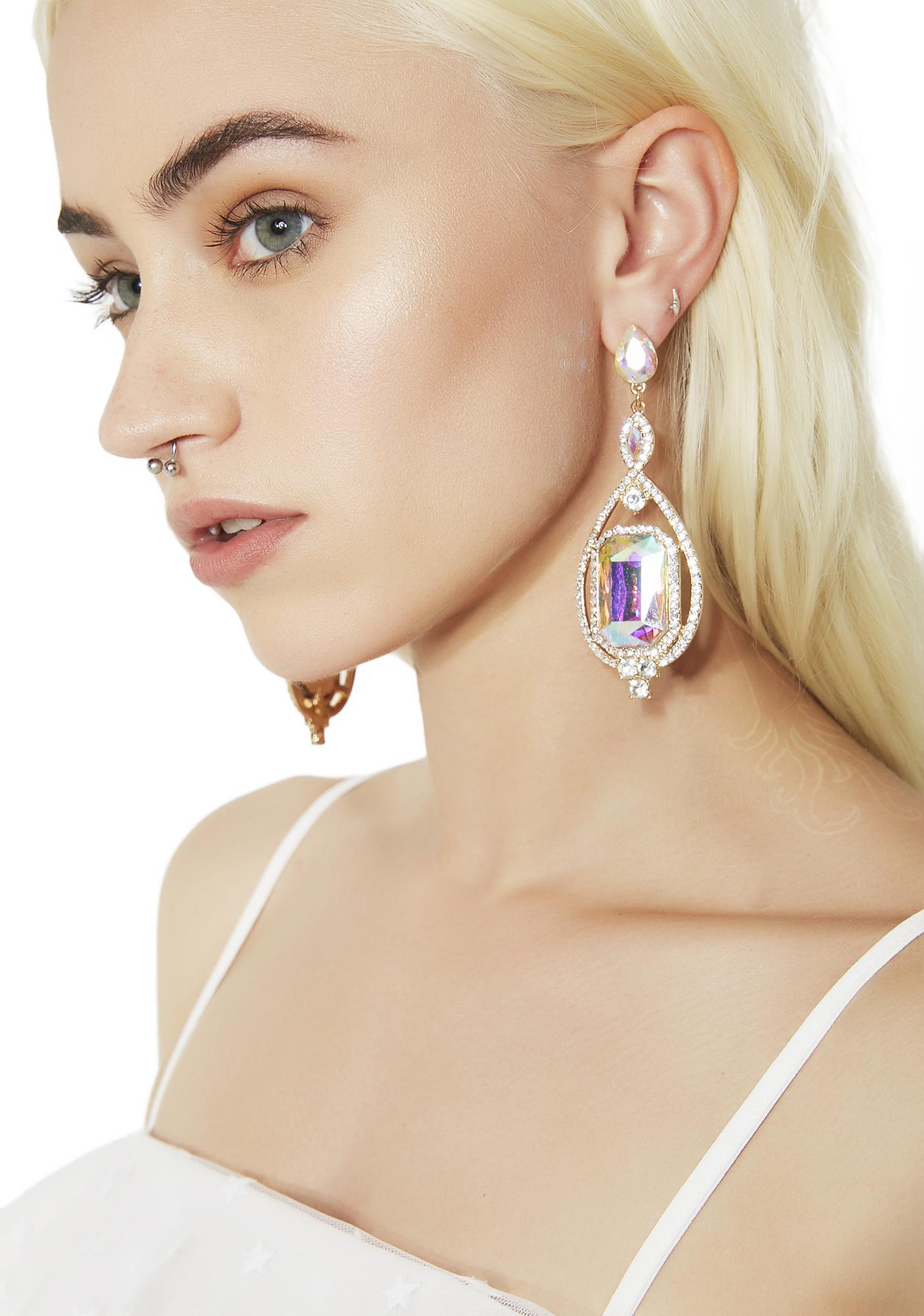 Square Iridescent Rhinestone Drop Earrings