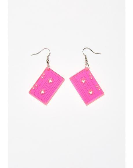 Play The Receipts Cassette Earrings