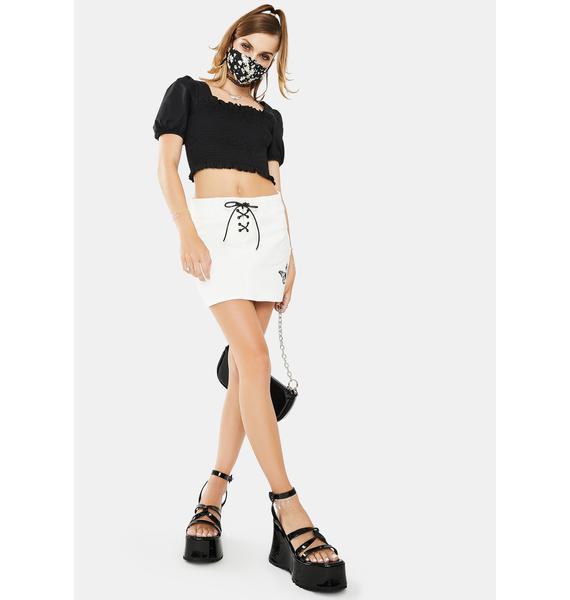 Glamorous Black Puff Sleeve Crop Top