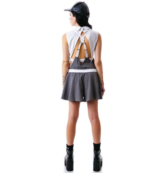 Hidden Lies Veggie Leather Overall Shorts