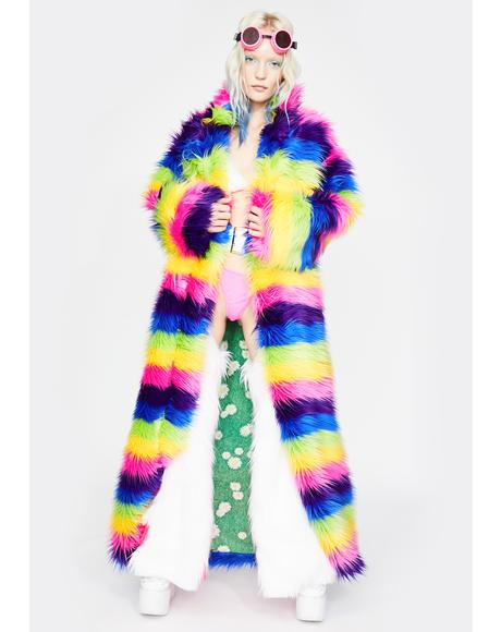 Taste The Rainbow Faux Fur Coat