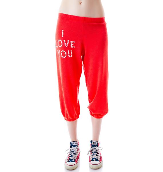 Wildfox Couture Little Heart Spell Cropped Morning Sweats