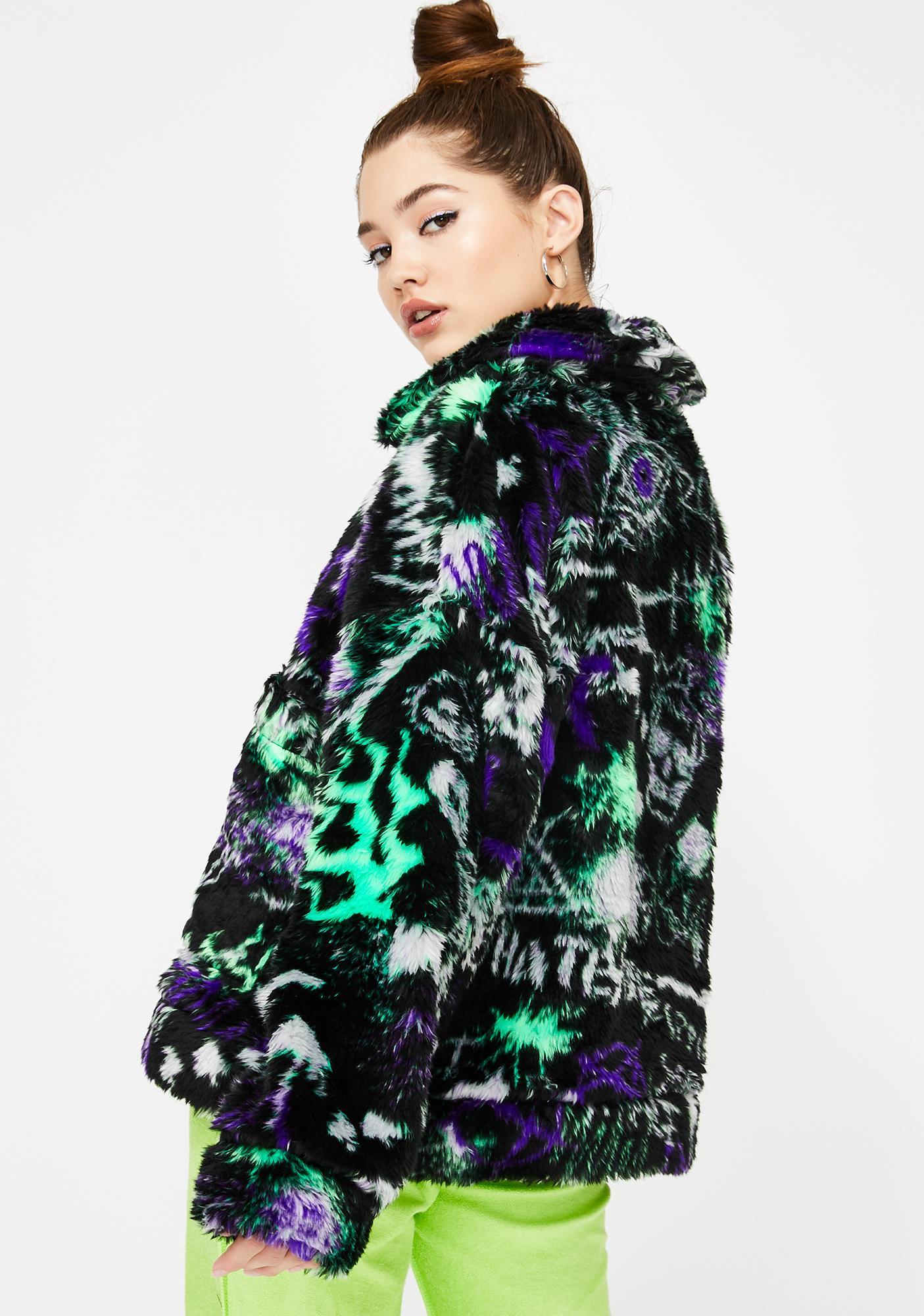 Jaded London Graffiti Print Oversized Fleece Jacket