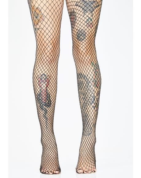 Night Spell Shimmer Fishnet Tights
